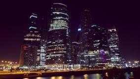 Skyskrapa för mitt för affär för Moskvastad internationell Ryssland 4K natt Timelapse arkivfilmer