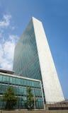 Skyskrapa och Dag Hammarskjöld l för FN-Förenta Nationernasekretariat Arkivbild
