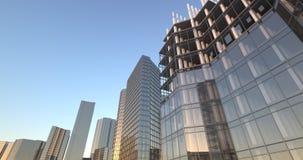 Skyskrapakonstruktionsstad som upp växer uhd för timelapseanimering 4k vektor illustrationer