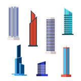 Skyskrapasymbolsuppsättning i detaljerad plan stil modernt gammalt vektor stock illustrationer