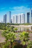Skyskrapor av det finansiella området i Zhujiang den nya townen Arkivfoto