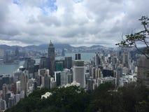 Skyskrapor beskådar i Hong Kong fotografering för bildbyråer