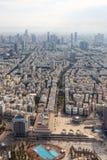 Skyskrapor för stående format för stad Tel Aviv horisontIsrael för flyg- sikt arkivbilder