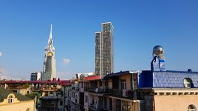 Skyskrapor i Batumi i Georgia royaltyfri fotografi
