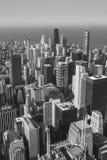 Skyskrapor i Chocago som är svartvit Arkivfoto