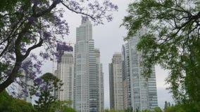Skyskrapor i den Puerto Madero grannskapen, Buenos Aires, arkivfilmer