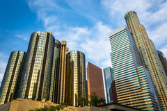 Skyskrapor i det finansiella området, i i stadens centrum Los Angeles, Royaltyfri Fotografi