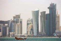 Skyskrapor i Doha Qatar Royaltyfri Fotografi