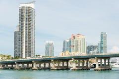 Skyskrapor i Miami Beach Royaltyfri Bild
