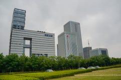 Skyskrapor i Nanjing City Arkivbilder