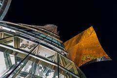 Skyskrapor i natthimlen Royaltyfri Foto