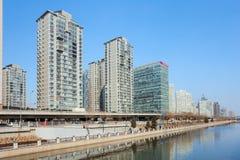 Skyskrapor i området för central affär för Peking, Kina Royaltyfria Bilder