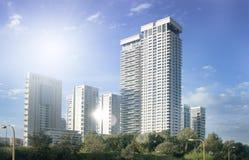 Skyskrapor i Tel Aviv, Israel Modern stadsarkitekturbakgrund som tonar Lens signalljus Affär finansteknologi Royaltyfria Bilder