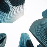 Skyskrapor med blått exponeringsglas, hög löneförhöjningbyggnad, skyskrapor, affärsidé av lyckad industriell arkitektur 3d Royaltyfri Fotografi