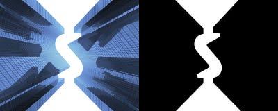 Skyskrapor med en dollar formar mot molnen, sikt underifrån, banret Med den alfabetiska kanalen illustration 3d stock illustrationer