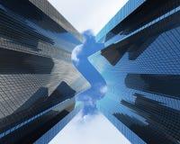 Skyskrapor med en dollar formar mot molnen, sikt underifrån, banret illustration 3d stock illustrationer