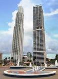 Skyskrapor med springbrunnen Panama City Royaltyfri Bild