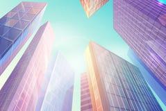 Skyskrapor med Windows som är den sken under solen Arkivfoton