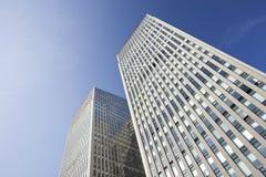 Skyskrapor mot en blå himmel i Peking centrerar, Kina Fotografering för Bildbyråer