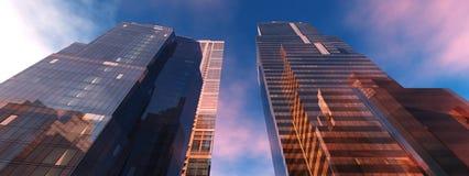 Skyskrapor mot skyen Royaltyfria Bilder