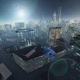 Skyskrapor mot skyen Royaltyfri Foto