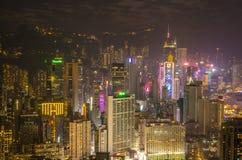 Skyskrapor och andra byggnader på Hong Kong Island i Hong Kong, Kina som beskådas från den Braemar kullen Fotografering för Bildbyråer
