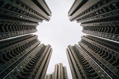 Skyskrapor på Aberdeen, i Hong Kong, Hong Kong Arkivbild