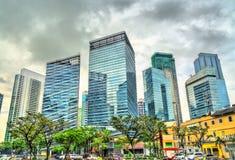 Skyskrapor på Bonifacio Global City - Manila, Filippinerna royaltyfri fotografi