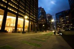 Skyskrapor på skymning, Houston Downtown Royaltyfria Bilder