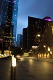 Skyskrapor på skymning, Houston Downtown Arkivbild