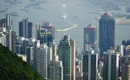 Skyskrapor på Victoria Harbor Hong Kong Royaltyfria Foton