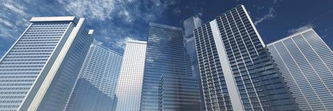 skyskrapor Panorama av moderna höghus royaltyfri illustrationer