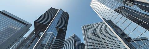 skyskrapor Panorama av moderna höghus arkivfoton