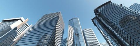 skyskrapor Panorama av moderna höghus arkivfoto