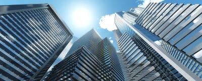 skyskrapor Panorama av moderna höghus vektor illustrationer