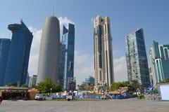Skyskrapor Qatar Fotografering för Bildbyråer