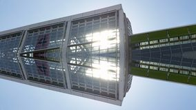 Skyskrapor som bygger spegeleffektsikt i Frankfurt Tysklandarkitektur arkivbild