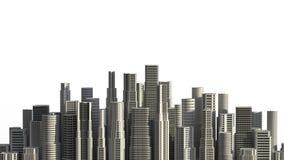 Skyskrapor som isoleras på vit bakgrund 3D som illustrerar Arkivbilder