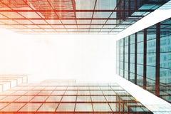 Skyskrapor som ses från det nedåtgående, tonat Arkivbilder