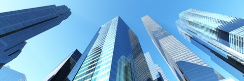 Skyskrapor stadslandskap Fotografering för Bildbyråer