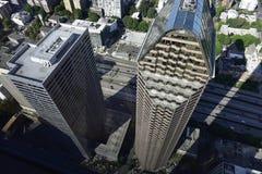 Skyskrapor uppifrån, Seattle, statliga Washington, USA Arkivfoto
