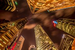 Skysrapers in Singapore during Stock Photos