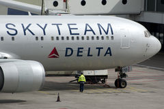 Skyteam Delta Boeing 767 Airplane Stock Images