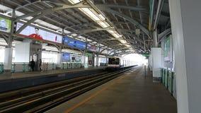 Skytrain at Bangjak station Sukhumvit road Bangjak, Phra Kanok, Bangkok, Thailand. February 4, 2019 stock footage