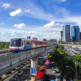 Skytrain. Bangkok - June 14: Transport in the capital of Thailand. Skytrain is popular because it is fast., Thailand on June 14, 2013 Royalty Free Stock Photos