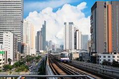 Skytrain in Bangkok Thailand. Skytrain Cityscape in Bangkok Thailand Royalty Free Stock Images