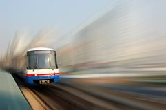 Skytrain blur. Motion blur of downtown Bangkok commuter skytrain Royalty Free Stock Image