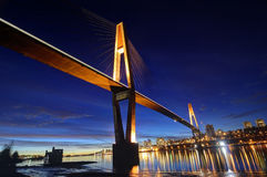 Skytrain bridge at blue hour Royalty Free Stock Images