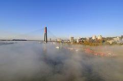 Skytrain bro och en stad i en dimmig morgon Arkivbilder
