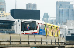 Skytrain. BTS skytrain while running for service in Bangkok city, Thailand Stock Photo